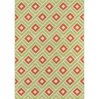 "Momeni Baja Blocks Green Indoor/Outdoor Area Rug - 3'11"" x 5'7"""