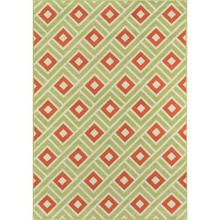 Momeni Baja Blocks Green Indoor/Outdoor Area Rug (5'3 x 7'6)