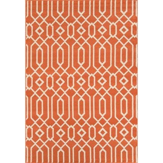 Indoor/ Outdoor Orange Links Rug (5'3 x 7'6)