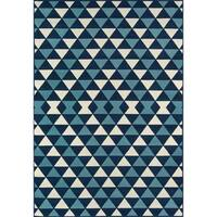 "Momeni Baja Kaleidoscope Blue Indoor/Outdoor Area Rug - 6'7"" x 9'6"""