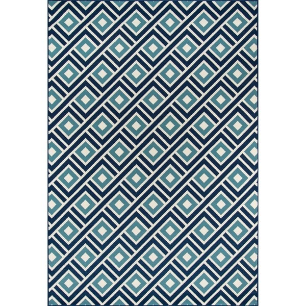 "Momeni Baja Blocks Blue Indoor/Outdoor Area Rug - 6'7"" x 9'6"""