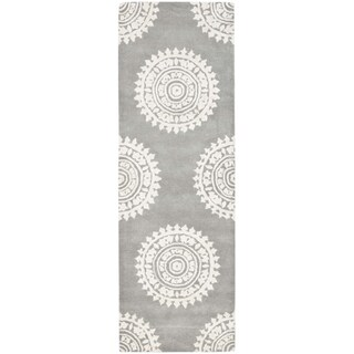 Safavieh Handmade Soho Light Grey/ Ivory Wool Rug (2'6 x 16')