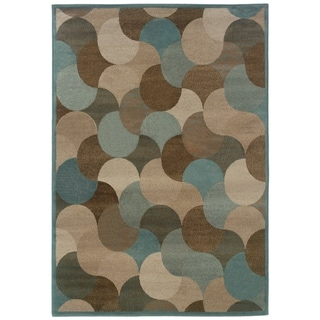 Abstract Beige/ Stone Blue Area Rug (1'11 x 3'3)