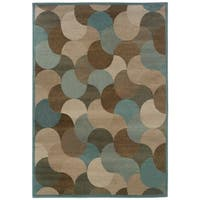 Abstract Beige/ Stone Blue Area Rug - 6'7 x 9'6