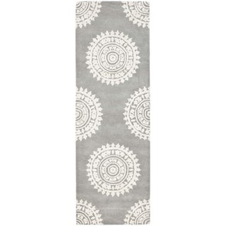 Safavieh Handmade Soho Light Grey/ Ivory Wool Rug (2'6 x 18')