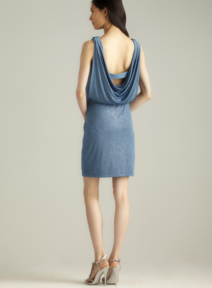 Cowl Neck Draped Blouson Sparkle Dress