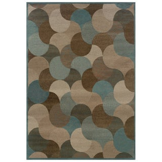 Abstract Beige/ Stone Blue Area Rug (3'10 x 5'5)