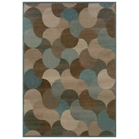 Abstract Beige/ Stone Blue Area Rug - 3'10 x 5'5