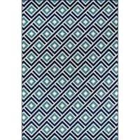 """Momeni Baja Blocks Blue Indoor/Outdoor Area Rug - 5'3"""" x 7'6"""""""