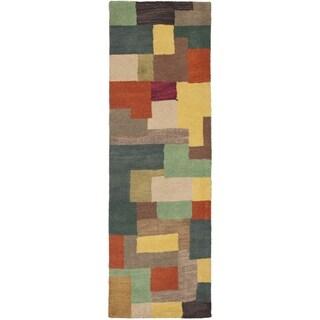 Safavieh Handmade Soho Modern Abstract Multicolored Wool Runner Rug Runner Rug (2' 6 x 10')