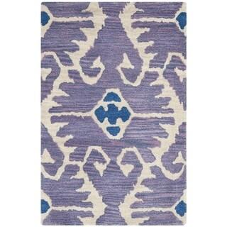 Safavieh Handmade Wyndham Lavender/ Ivory Wool Rug (3' x 5')