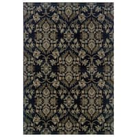 Floral Navy/ Grey Area Rug - 7'10 x 10'10