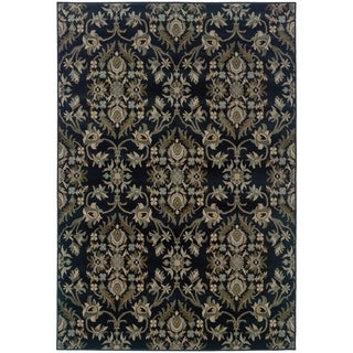 "Borderless Floral Traditional Navy/ Grey Area Rug - 7'10"" x 10'10"""