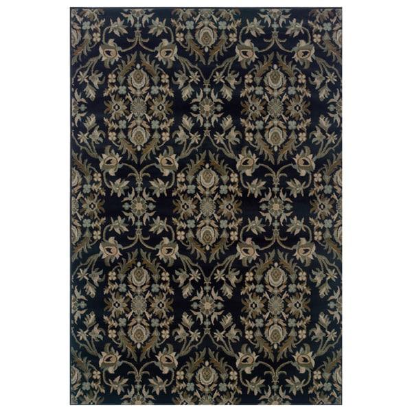 Floral Navy/ Grey Area Rug (7'10 x 10'10)