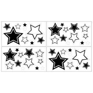 Sweet JoJo Designs White and Black Hotel Wall Decals (Set of 4 Sheets)