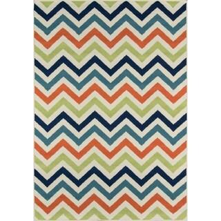 Momeni Baja Chevron Multicolor Indoor/Outdoor Area Rug (7'10 x 10'10)