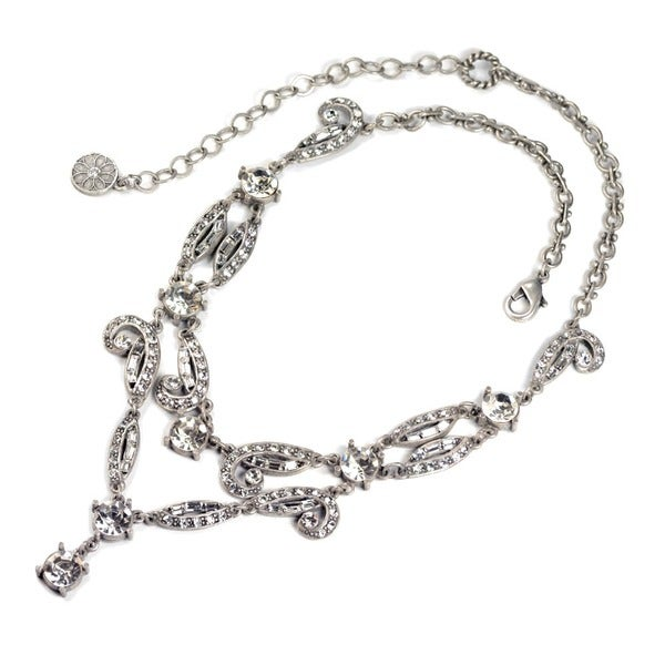 Sweet Romance Art Deco Vintage Hollywood Crystal Necklace