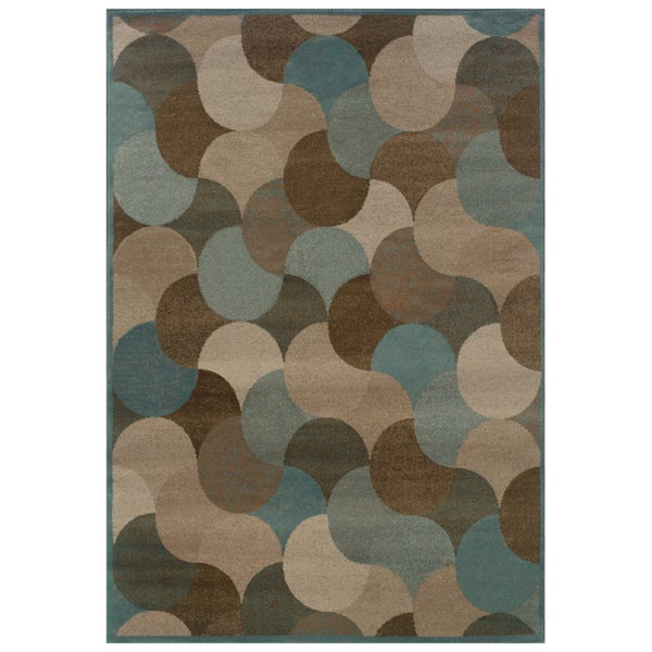 "Abstract Beige/ Stone Blue Rug (7'10 x 10'10) - 7'10"" x 10'10"""