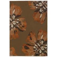 "Floral Contemporary Brown/ Orange Rug (1'11 x 3'3) - 1'10"" x 3'3"""
