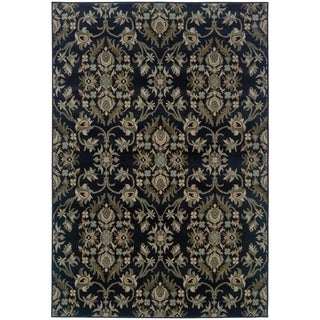 Floral Traditional Navy/ Grey Rug (3'10 x 5'5)