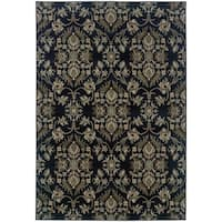 Floral Traditional Navy/ Grey Rug