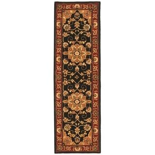 Safavieh Handmade Traditions Black/ Burgundy Wool Rug (2'3 x 12')