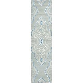 Safavieh Handmade Wyndham Blue/ Ivory Wool Rug (2' 3 x 11')