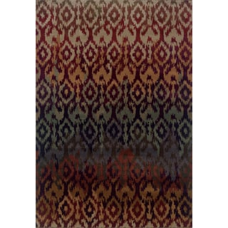 Ikat Design Casual Red/ Multi Rug (6'7 x 9'6)
