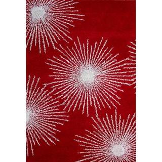 Safavieh Handmade Soho Burst Red/ Ivory Wool Rug (3'6 x 5'6)