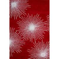 Safavieh Handmade Soho Burst Red/ Ivory Wool Rug - 3' 6 x 5' 6