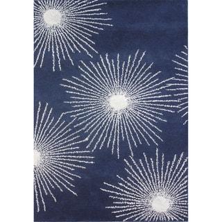 Safavieh Handmade Soho Burst Dark Blue/ Ivory Wool Rug (3'6 x 5'6)