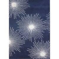 Safavieh Handmade Soho Burst Dark Blue/ Ivory Wool Rug (3' 6 x 5' 6 )