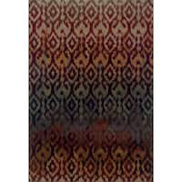 Ikat Design Casual Red/ Multi Rug - 9'10 x 12'9