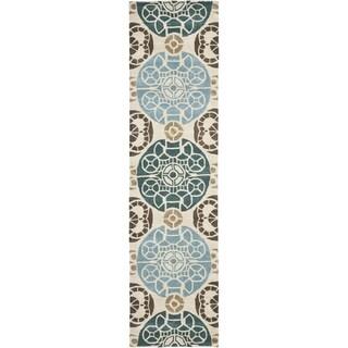 Safavieh Handmade Wyndham Beige/ Blue Wool Rug (2' 3 x 13')