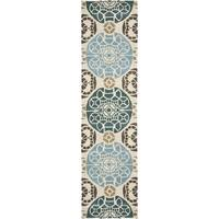 """Safavieh Handmade Wyndham Beige/ Blue Wool Rug - 2'3"""" x 13'"""