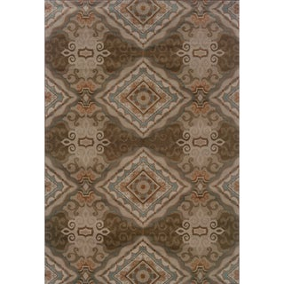 Elegant Diamond Grey/ Brown Rug (6'7 x 9'6)