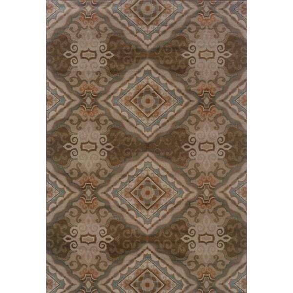 Elegant Diamond Grey/ Brown Rug (6'7 x 9'6) - 6'7 x 9'6