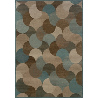 Abstract Beige/ Stone Blue Rug (5'3 x 7'6)