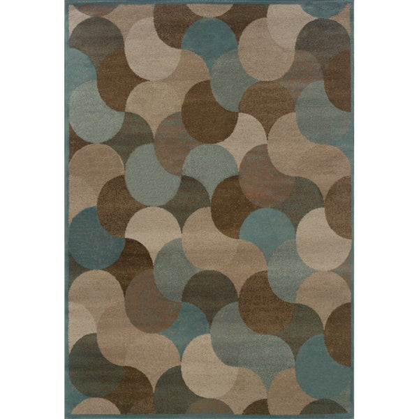 Abstract Beige/ Stone Blue Rug - 5'3 x 7'6