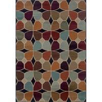 Geometric Grey/ Multicolored Area Rug - 5'3 x 7'6