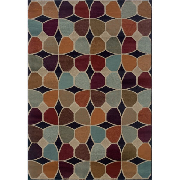 Geometric Grey/ Multicolored Area Rug - 5'3 x 7'6