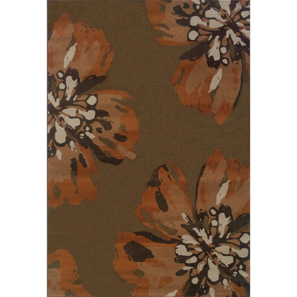 Floral Brown/ Orange Area Rug - 5'3 x 7'6