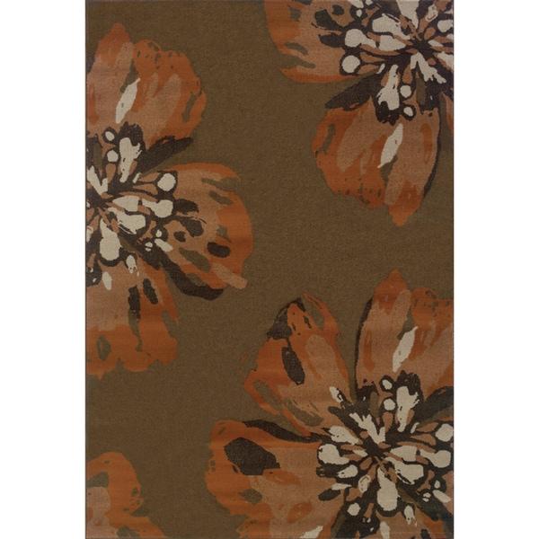 "Floral Brown/ Orange Area Rug (5'3 x 7'6) - 5'3"" x 7'6"""