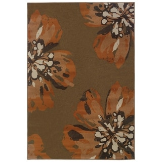 """Overscale Floral Contemporary Brown/ Orange Area Rug - 5'3"""" x 7'6"""""""