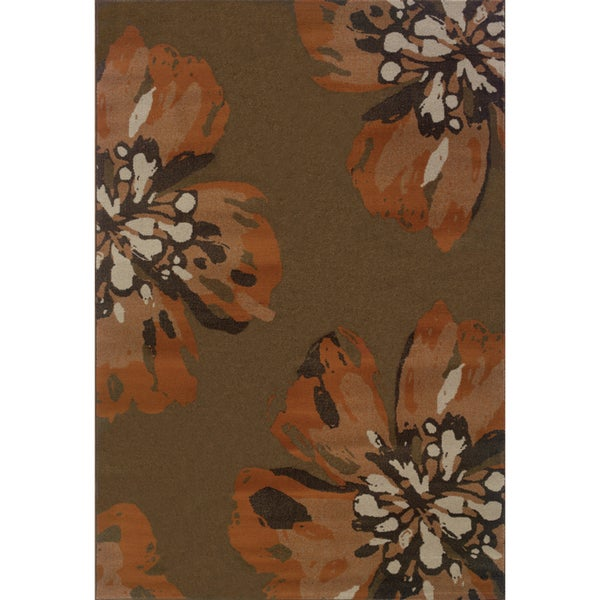 Floral Brown/ Orange Area Rug - 7'10 x 10'10