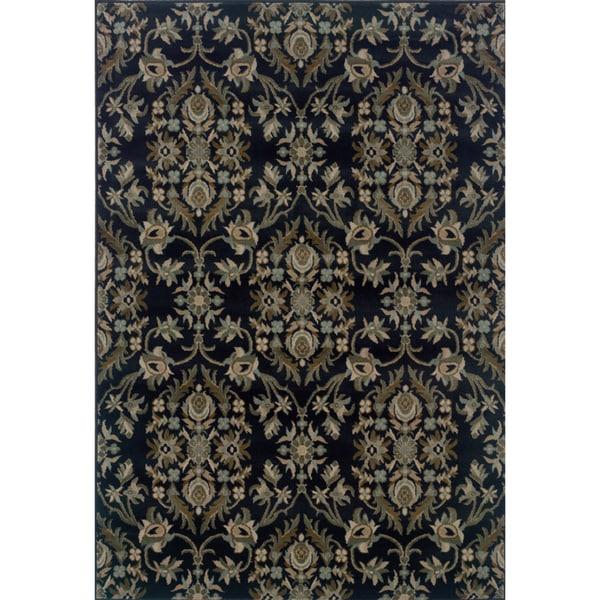 Traditional Floral Navy and Grey Rug - 5'3 x 7'6