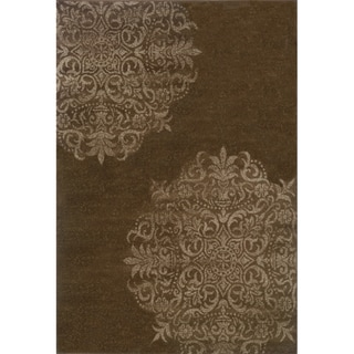 Brown and Stone Stamped Medallion Area Rug (7'10 x 10'10)