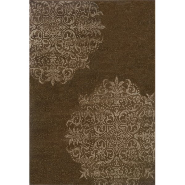 Brown and Stone Stamped Medallion Area Rug - 7'10 x 10'10
