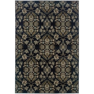 Floral Navy/ Grey Area Rug (9'10 x 12'9)