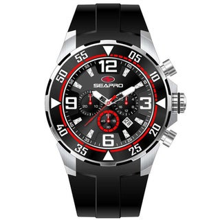Seapro Men's 'Drive' Black/ Red Chronograph Watch